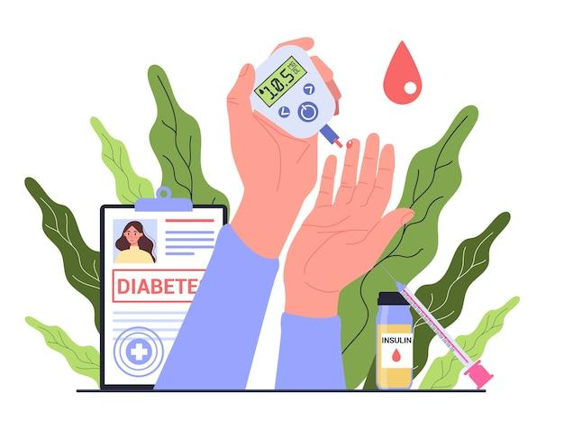 Диабет . измерение сахара в крови глюкометром. всемирный день осведомленности о диабете. идея здравоохранения и лечения.