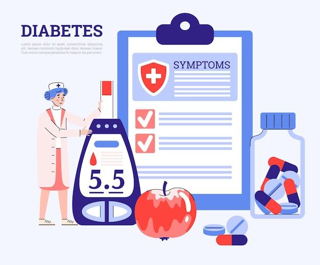 Медицинский плакат диабета с доктором, держащим глюкометр плоский векторные иллюстрации