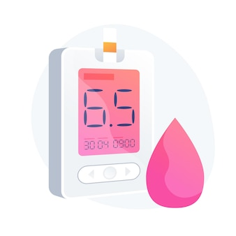Diabetes mellitus. blood sugar level measuring tool, medical equipment, diabetology idea design element. hypoglycemia disease, glycemia diagnosis. vector isolated concept metaphor illustration