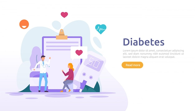 Diabetes mellitus monitoring concept. sugar level blood measures with glucose testing meter. insulin injection treatment and diet control therapy. illustration template for web landing page