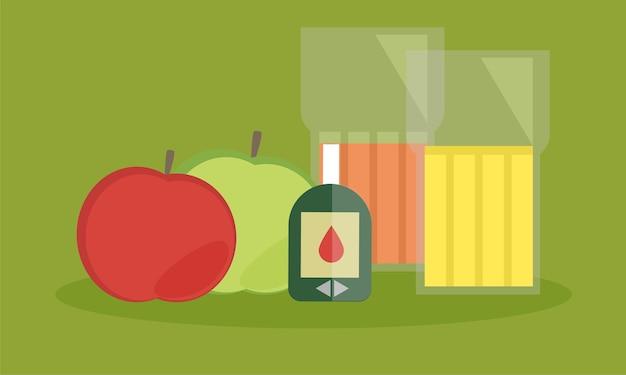 糖尿病モニター、コレステロール食、健康食品を食べる栄養の概念、きれいな果物、糖尿病測定ツールキットを使用した患者の血糖コントロール記録