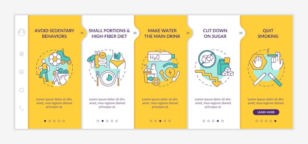 Diabetes prevention tips onboarding vector template. responsive mobile website with icons. web page walkthrough 5 step screens. avoid sedentary behaviors color concept with linear illustrations