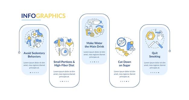 당뇨병 예방 팁 벡터 infographic 템플릿입니다. 앉아있는 프레 젠 테이 션 개요 디자인 요소입니다. 5단계로 데이터 시각화. 타임라인 정보 차트를 처리합니다. 라인 아이콘이 있는 워크플로 레이아웃