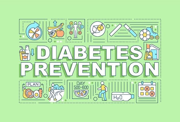Баннер концепции слова профилактики диабета. медицинская помощь.