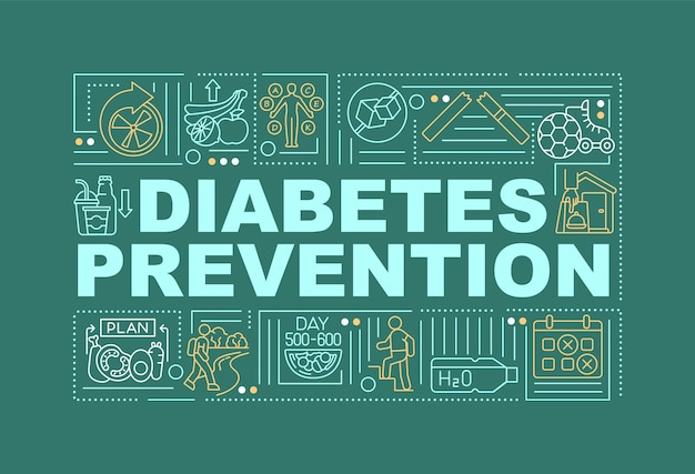 Diabetes preventions word concepts banner. medical treatment. infographics with linear icons on green background. isolated creative typography. vector outline color illustration with text