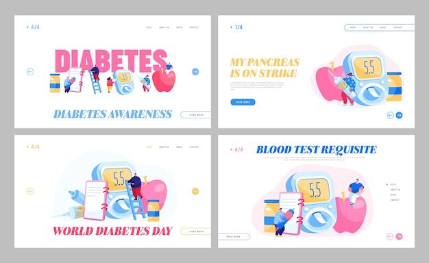 糖尿病の病気、ブドウ糖検査メーター、インスリンコントロールのランディングページテンプレートセット