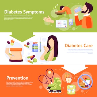 Diabetes symptoms flat banners set
