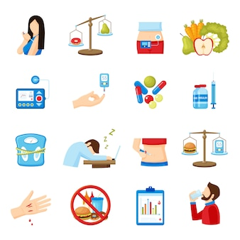 Diabetes symptoms flat icons collection