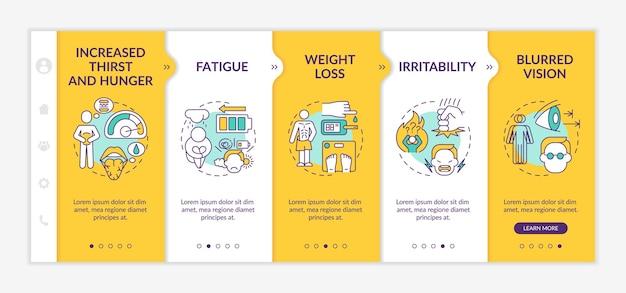 Симптомы диабета на борту вектор шаблон. адаптивный мобильный сайт с иконками. веб-страница прохождение 5 экранов шагов. цветовая концепция повышенной жажды и голода с линейными иллюстрациями
