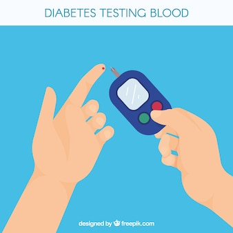 Diabetes testing blood composition with flat design