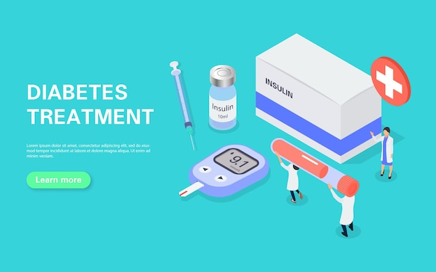 Diabetes treatment banner. measuring blood sugar with a glucometer. tiny people carry a test tube of blood for analysis.