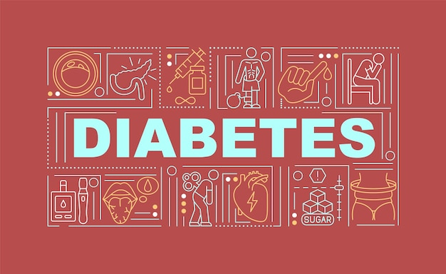 당뇨병 단어 개념 배너입니다. 질병 치료용 의약품. 빨간색 배경에 선형 아이콘으로 인포 그래픽입니다. 고립 된 창조적 인 인쇄술. 텍스트와 벡터 개요 컬러 일러스트