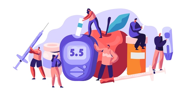 Проверка уровня глюкозы в крови при диабете на цифровом глюкометре. капля инсулина для медицинского лечения. доктор, измеряющий сахар с помощью метра полосы синего оборудования для мониторинга, плоский мультфильм векторные иллюстрации