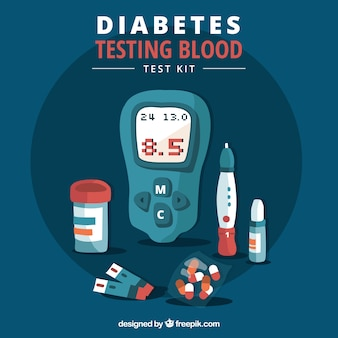 Diabetics testing blood with flat design