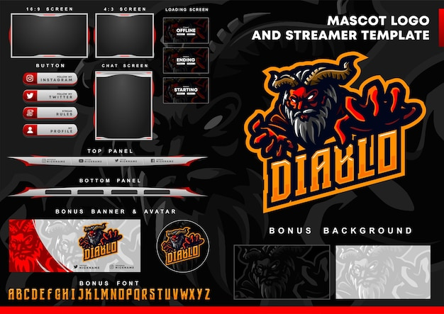 Diablo mascot logo and twitch overlay template