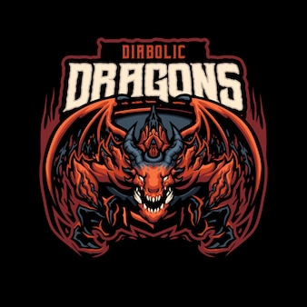 Логотип талисмана diabolic dragon для киберспорта и спортивной команды
