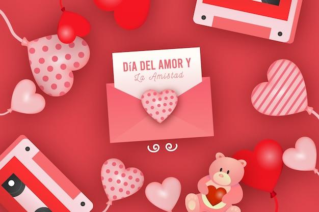 Díadel amor y amistad with hearts