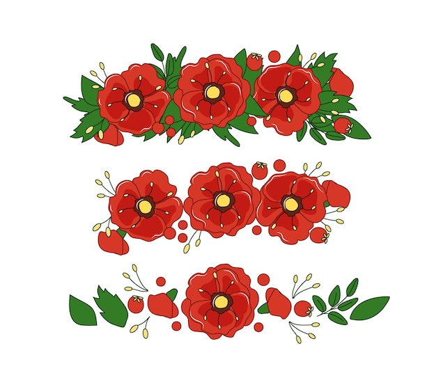 A diadem of poppies and leaves