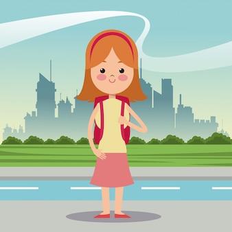 女の子のdiademバッグの都市の背景