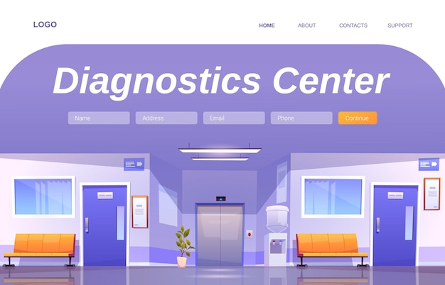 Diagnostics center landing page
