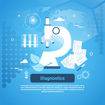 Diagnostics medical treatment web banner with copy space