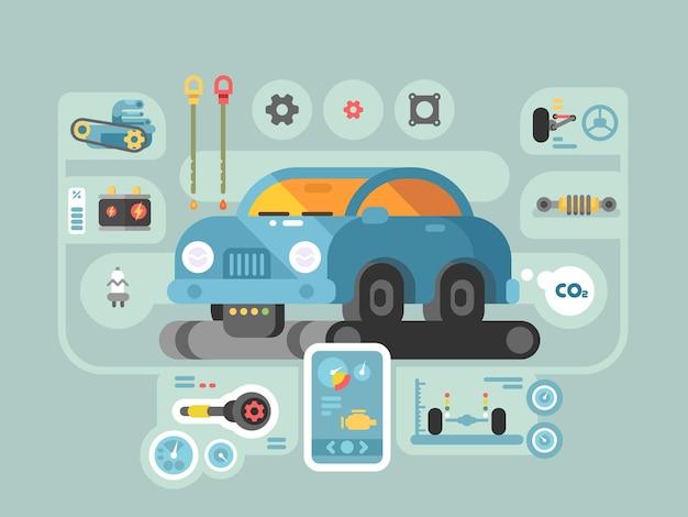サービスステーション内のマシンの診断。ガレージで自動車を修理します。ベクトルイラスト