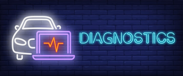 Diagnostics sign in neon style