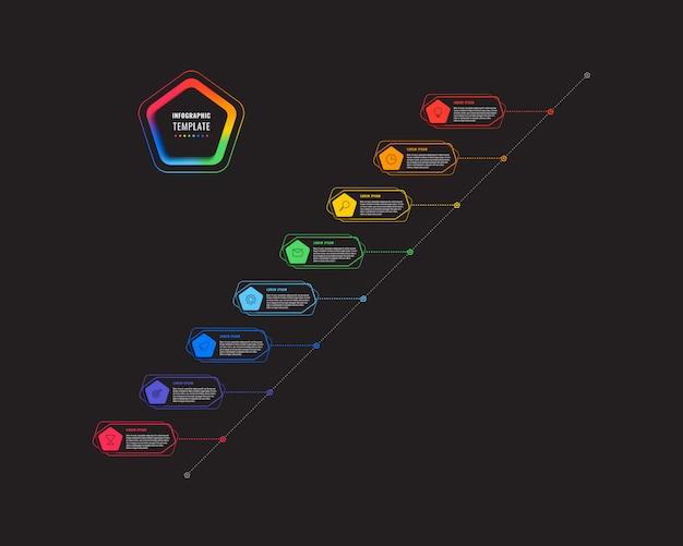 五角形と白い背景の上の多角形要素の斜め8ステップタイムラインインフォグラフィックテンプレート。細い線のマーケティングアイコンによる現代のビジネスプロセスの可視化。図