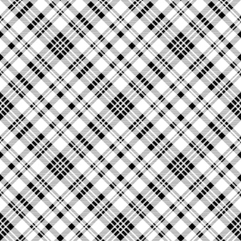 Diagonal black white check plaid seamless pattern