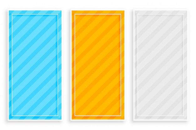 Diagonal bold stripes banners set of three