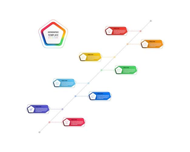 対角線の8つのステップのタイムラインインフォグラフィックテンプレート。