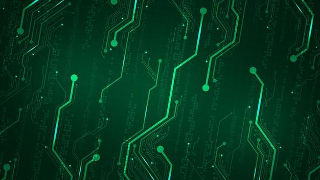 진한 녹색 배경에 대각선 전자 회로 설계.