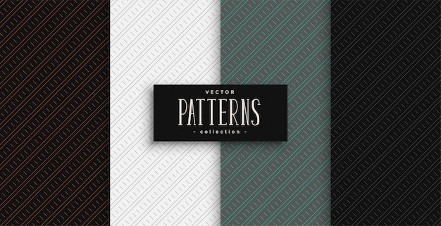 Diagonal lines geometric pattern set in professional colors
