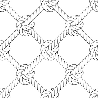 Diagonal rope mesh - knots and rope seamless pattern