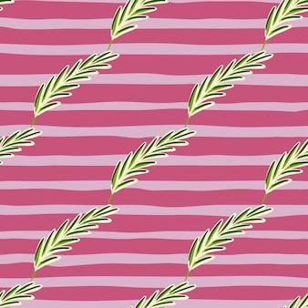 斜めのローズマリー要素のシームレスなパターン。ピンクの縞模様の背景。オーガニックハーブの手描きプリント。生地のデザイン、テキスタイルプリント、ラッピング、カバーに最適です。ベクトルイラスト。