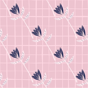 Diagonal seamless pattern with tulip flowers shapes. pink background with check and navy blue floral buds.