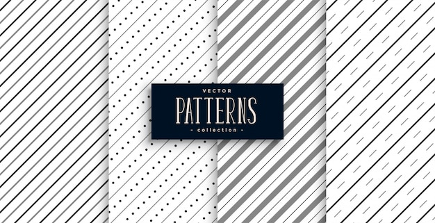 대각선 줄무늬 라인 패턴 4 개 세트