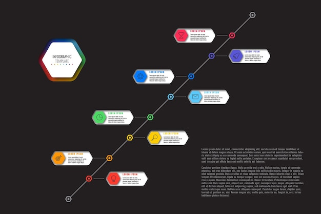 Diagonal timeline infographic template with eight multicolor hexagonal elements on black background