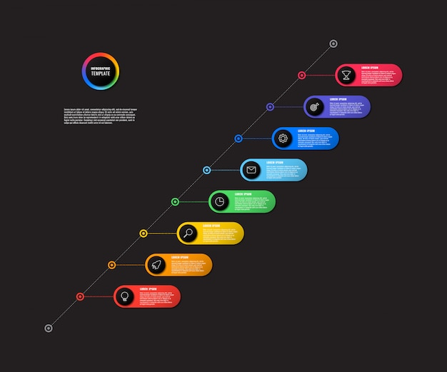 Diagonal timeline infographic with round elements on black background. modern business process visualisation with marketing line icons.