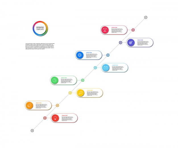 Diagonal timeline infographic with round elements on white background. modern business process visualisation with marketing line icons.