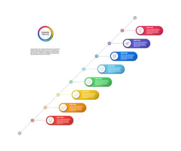 Diagonal timeline infographic with round elements