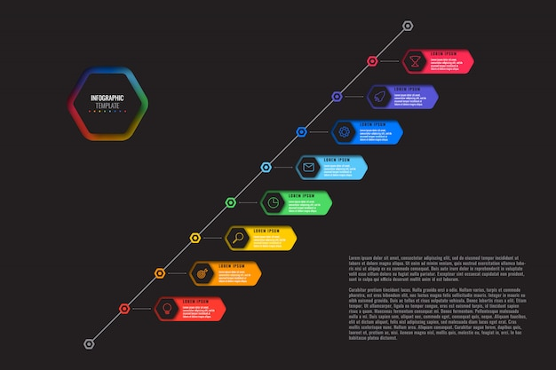 Diagonal timeline template with eight realistic hexagonal elements with thin line icons on black background.