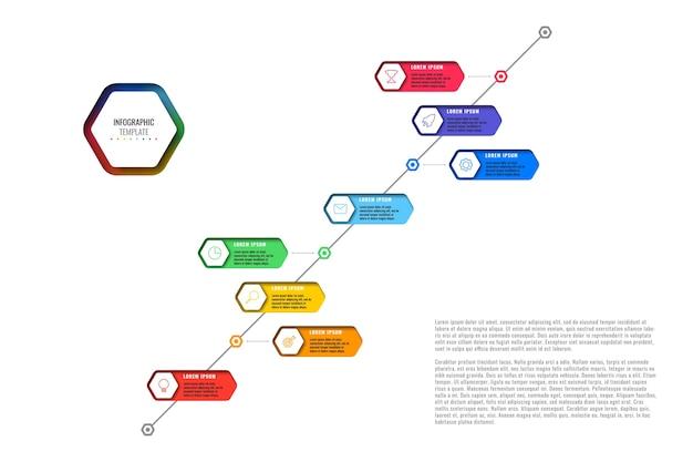 白い背景の上の細い線のアイコンと8つの現実的な六角形の要素を持つ斜めのタイムラインテンプレート。紙に幾何学的な穴を持つ近代的な図。プレゼンテーションの視覚化