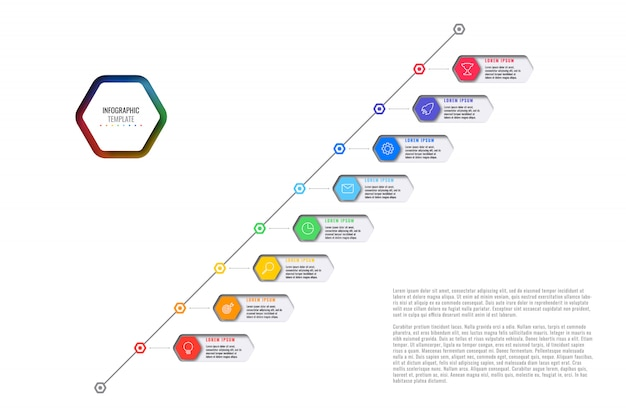 Diagonal timeline template with eight realistic hexagonal elements with thin line icons on white background.