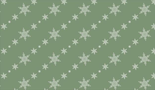 Diagonal white snowflakes on green background seamless pattern