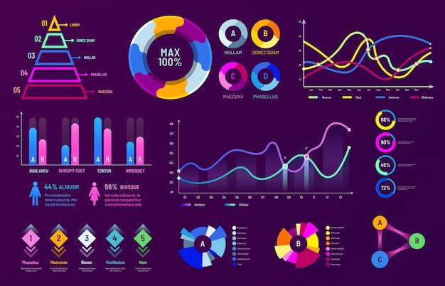 Диаграммы, графики анализа данных и статистика процентных диаграмм векторная иллюстрация набор