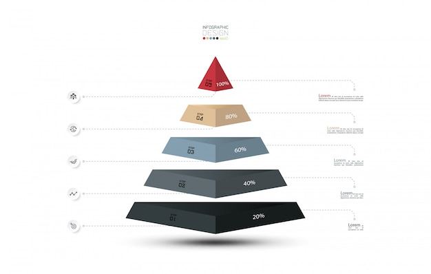 Diagram presentation on pyramid layer shape, infographics.