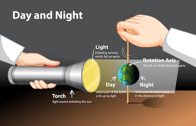 Диаграмма, показывающая дневной и ночной эксперимент с глобусом