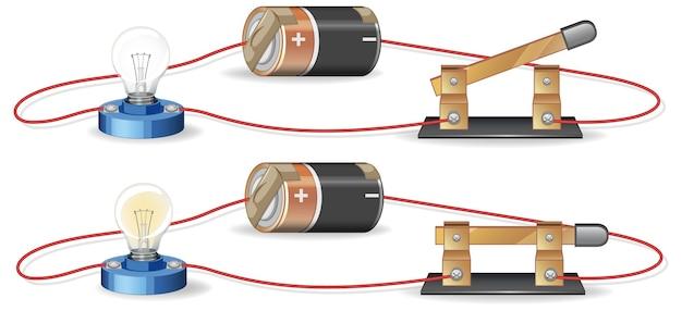 배터리와 전구가있는 전기 회로를 보여주는 다이어그램