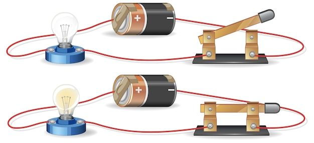 Diagram showing electric circuit with battery and lightbulb